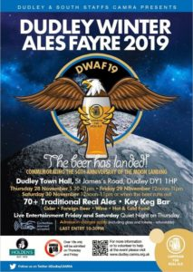 Dudley Winter Ales Fayre for 2019, running Thursday 28th to Saturday 30th November